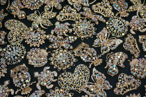 Wholesale Lot of 5-20 Gold Tone Clear/Iridescent Rhinestone Brooches (Lot #211) - Fancy Brooches