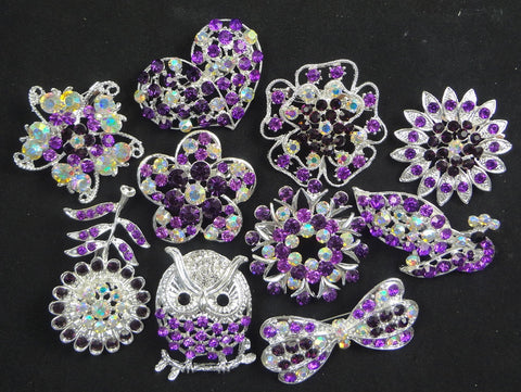Wholesale Bulk Lot of 10 Rhinestone Crystal Brooches (Lot #111) - Fancy Brooches - 1