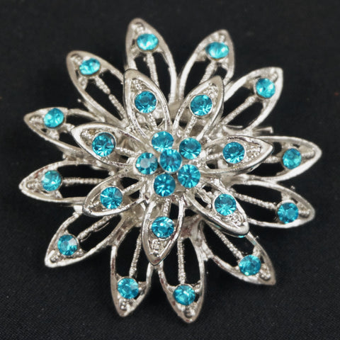 Blue Flower Crystal Brooch - FB0065-B - Fancy Brooches