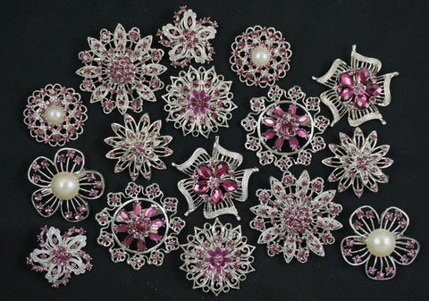 Wholesale Lot of 10-50 Crystal Purple Brooches (#130) - Fancy Brooches