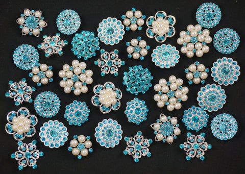 10-50 Crystal Blue/Turquoise Buttons (lot #125) - Fancy Brooches - 1