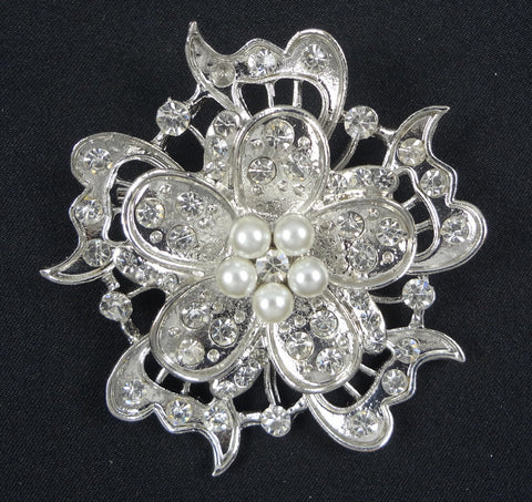 Crystal Pearl Brooch - FB0041 - Fancy Brooches