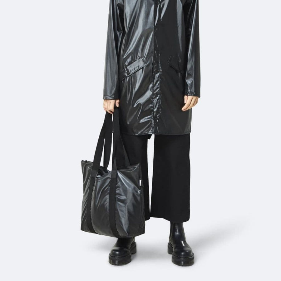 Rains Tote Bag Rush - Off - Shiny Black