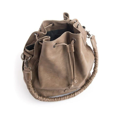 Stitch & Hide Long Beach Leather Shoulder Bag Taupe
