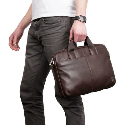 "Knomo Stanford Leather 13"" Laptop Messenger Briefcase - Brown"