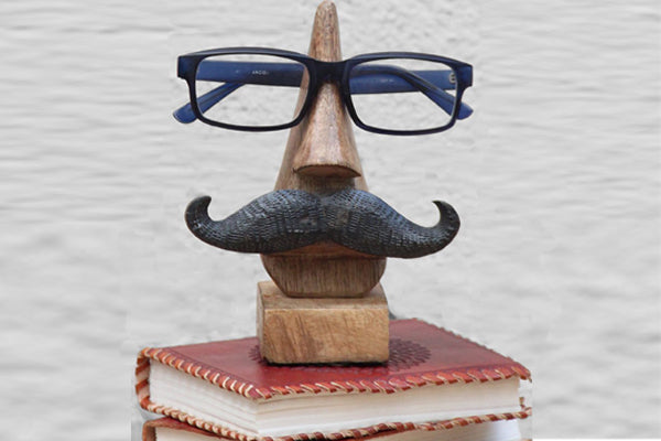 Handmade Face and Moustache Shaped - Classic Wooden Eyeglass Holder