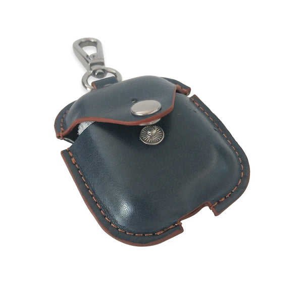 Leather Airpods Case with Button - Blue