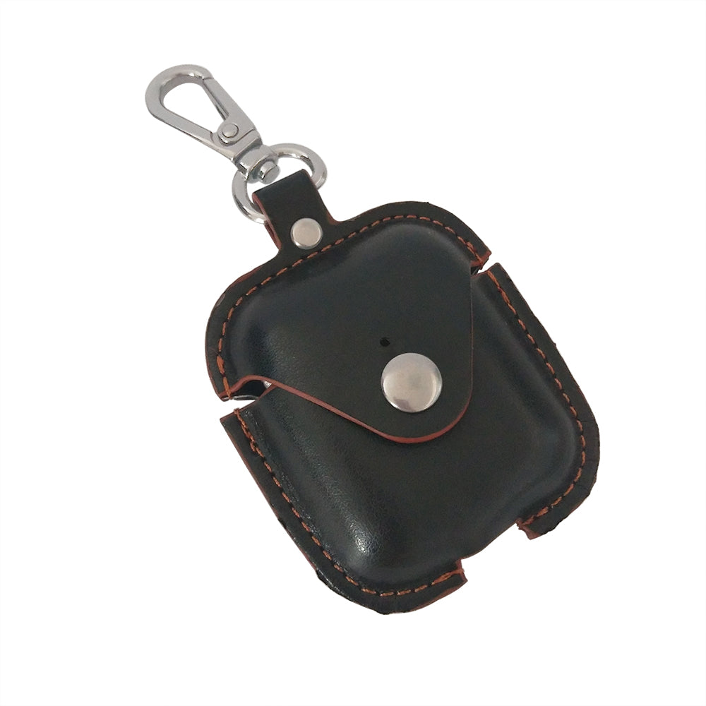 Leather Airpods Case with Button - Charcoal Black