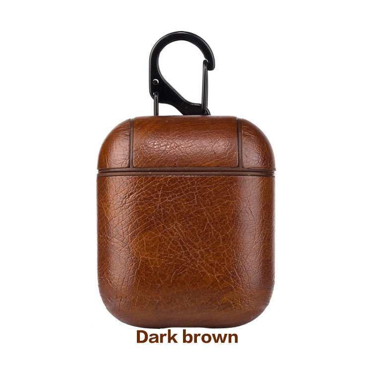 Leather Airpods Case - Dark Brown-Hamee India