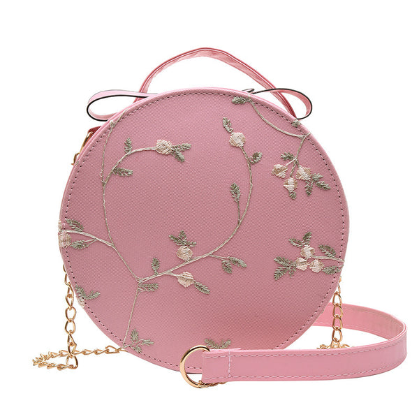 Embroidered Cross Body Sling Bag - Pink Flowers