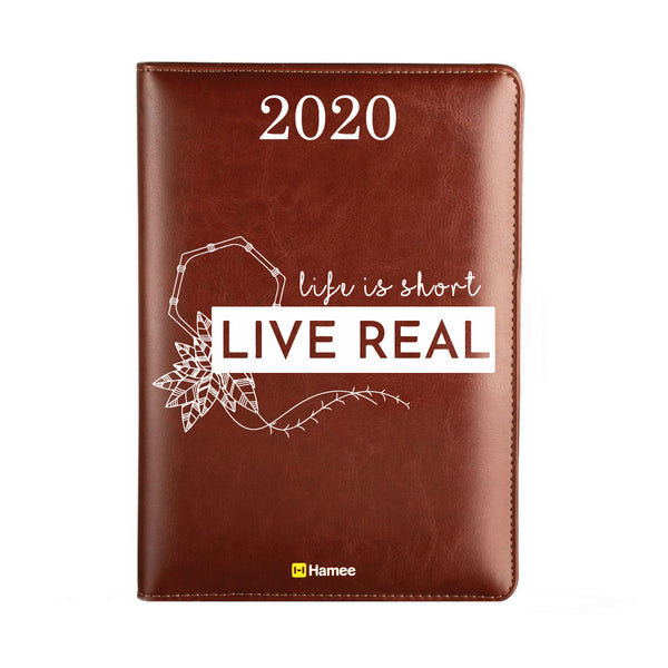 2020 Dark Brown Leather Diary - Live Real