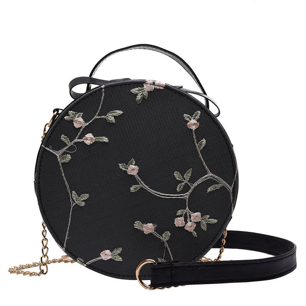 Embroidered Cross Body Sling Bag - Black Flowers