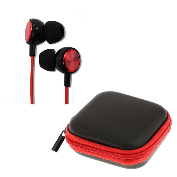 Red Long Cord Coil Earphones with Mic (1.5 m) + Red Pouch