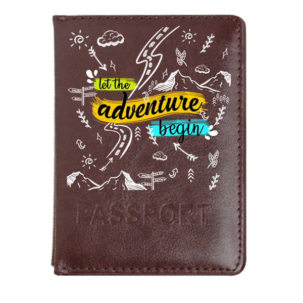 Adventure Doodles - Dark Brown PU Leather Passport Wallet / Holder