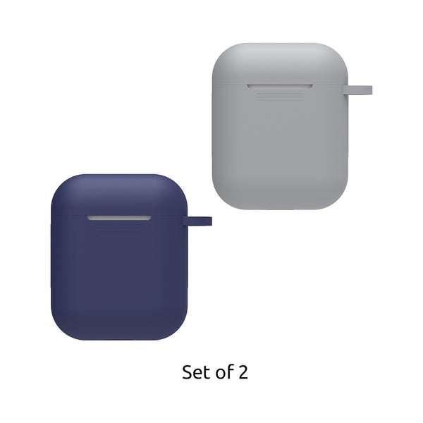 Silicon Airpods Case - Blue & Grey-Hamee India