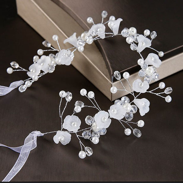 Crystal Pearl Floral Vine Hair Band Tie-Up Accessory