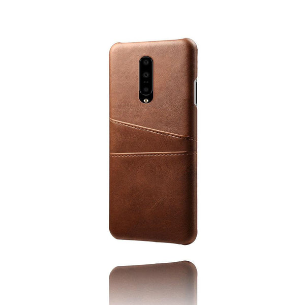 PU Leather Card Pocket Back Cover for OnePlus 7 Pro (Brown)-Hamee India