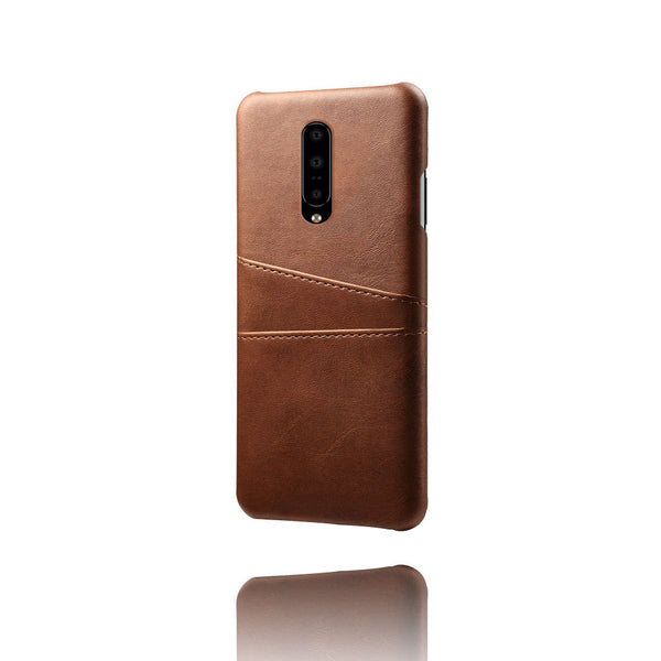 PU Leather Card Pocket Back Cover for OnePlus 7 (Brown)-Hamee India