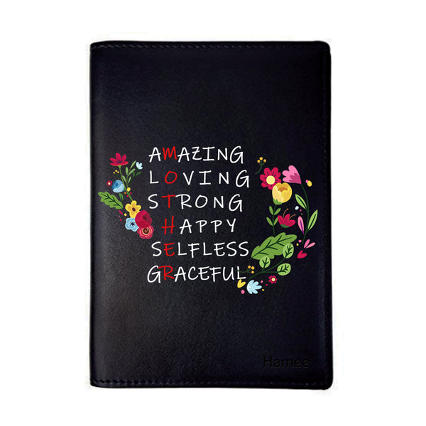 Amazing Mother Black PU Leather Passport Wallet / Holder-Hamee India
