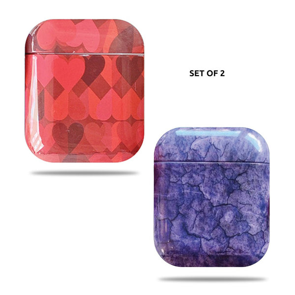 Hard Glossy Airpods Case - Red Hearts & Purple