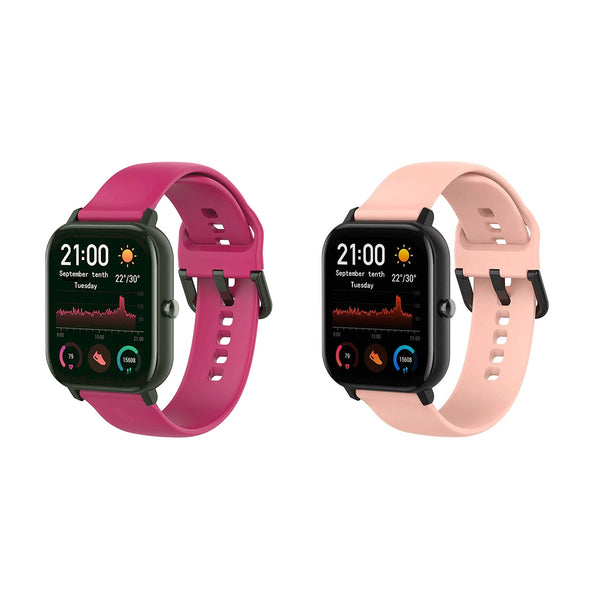 Silicone Wrist Strap for Amazfit Bip/GTS - Wine Red & Pink