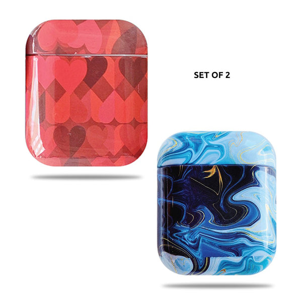 Hard Glossy Airpods Case - Red Hearts & Blue Marble
