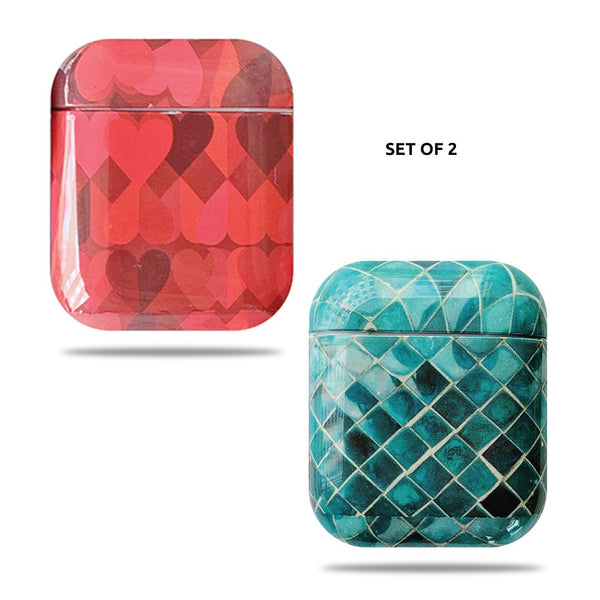 Hard Glossy Airpods Case - Red Hearts & Green Mosaic