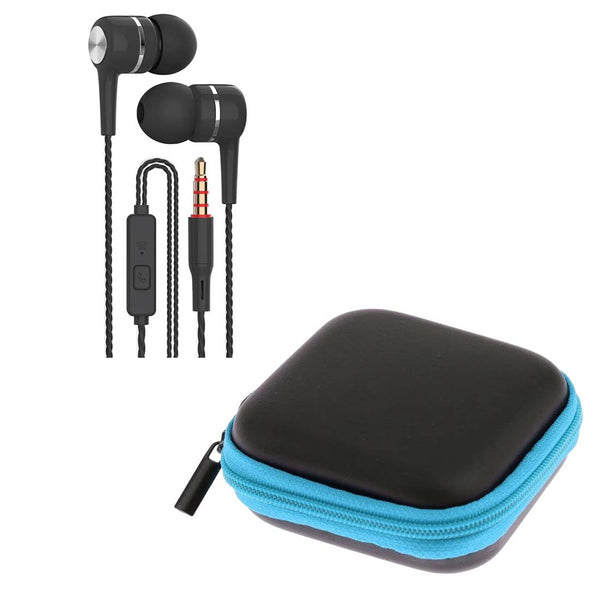 Black Spiral Cord Earphones with Mic + Blue Pouch