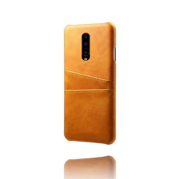 PU Leather Card Pocket Back Cover for OnePlus 7 Pro (Tan)-Hamee India