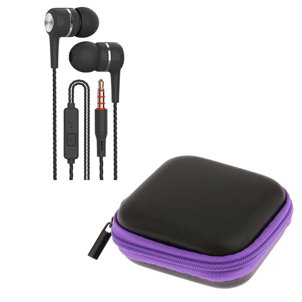 Black Spiral Cord Earphones with Mic + Purple Pouch