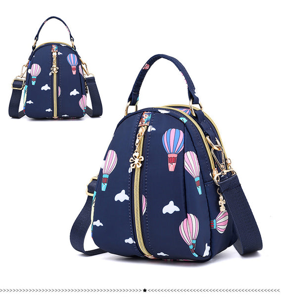 Printed Cross Body Sling Bag with Handle - Blue Sky
