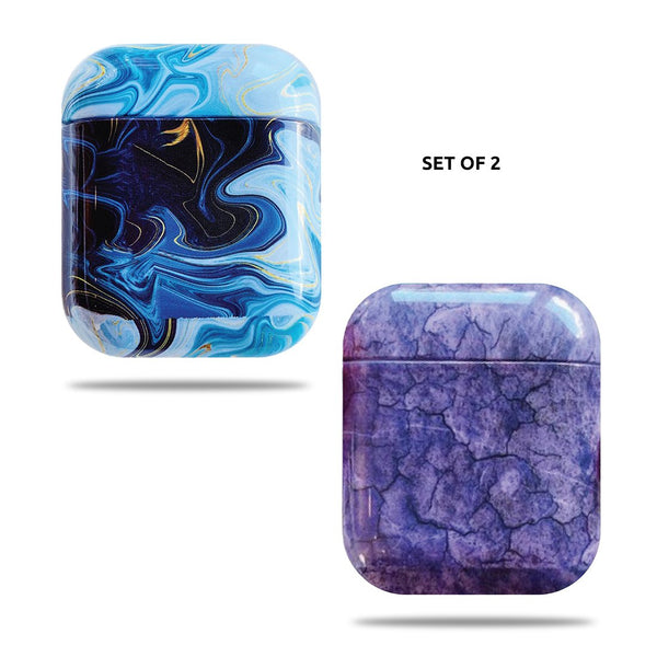 Hard Glossy Airpods Case - Blue Marble & Purple