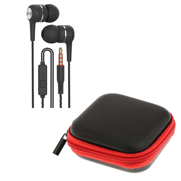 Black Spiral Cord Earphones with Mic + Red Pouch
