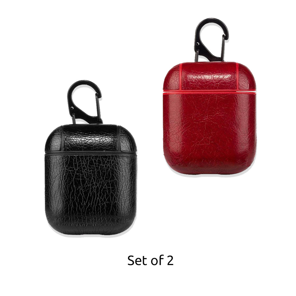Leather Airpods Case - Black & Red-Hamee India
