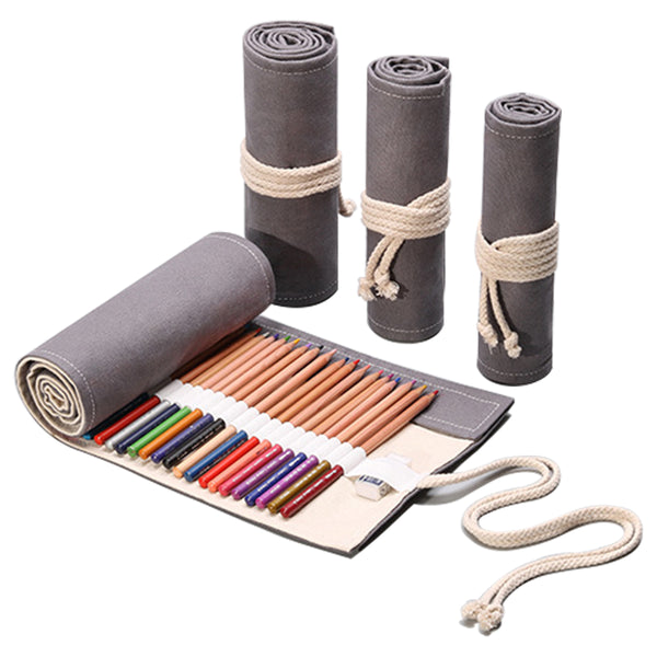 Gray Canvas Pencil Wrap Case-Hamee India