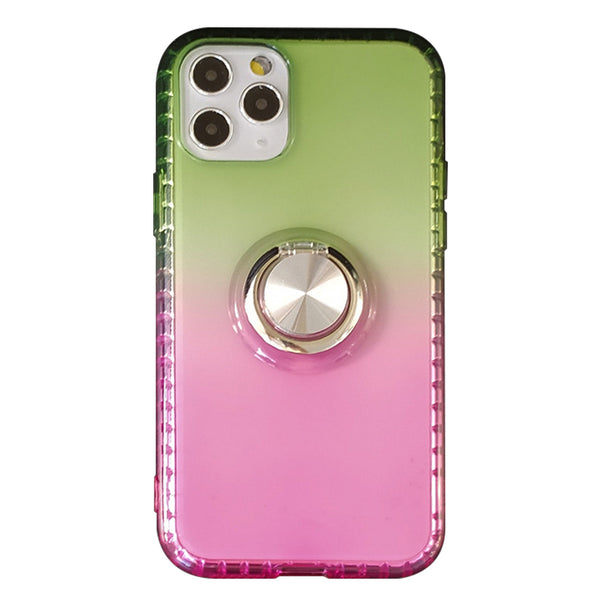 Gradient TPU Case with Ring Holder for iPhone 11 Pro - Pink & Yellow