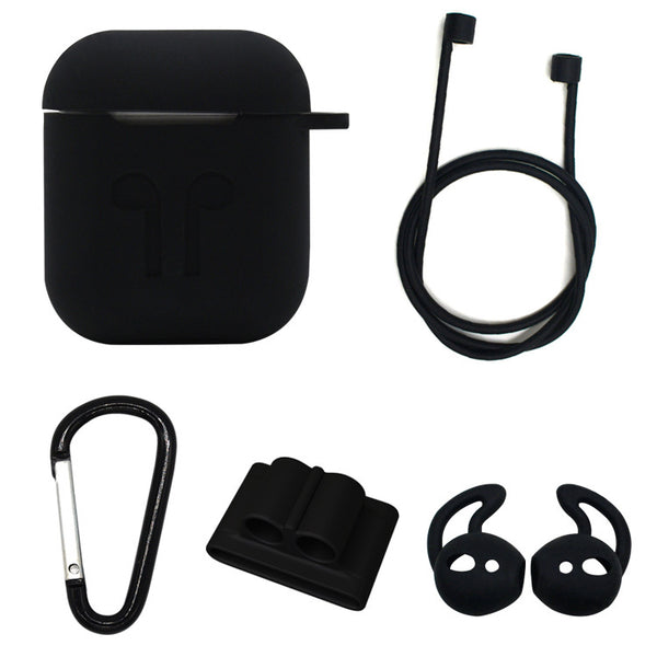 Silicon Airpods Case Set - Black-Hamee India