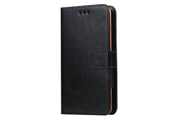 Black - PU Leather Flip Cover for Redmi Go