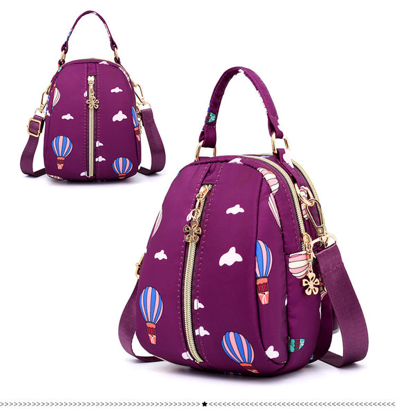 Printed Cross Body Sling Bag with Handle - Burgundy Sky