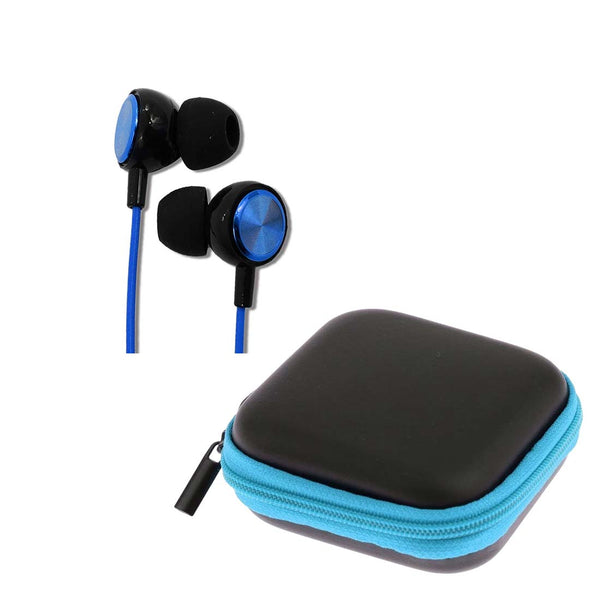 Dark Blue Long Cord Coil Earphones with Mic (1.5 m) + Blue Pouch