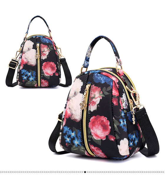 Printed Cross Body Sling Bag with Handle - Black Flowers