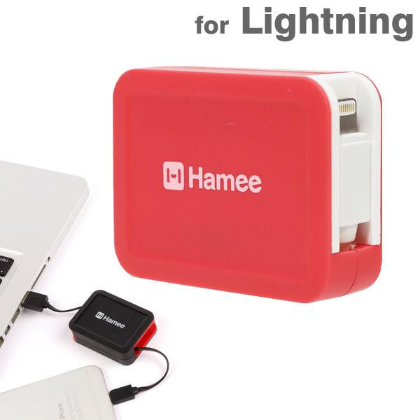 [JP] Hamee Original MFi Certified Retractable Lightning Cable Charger ( Pink / White)