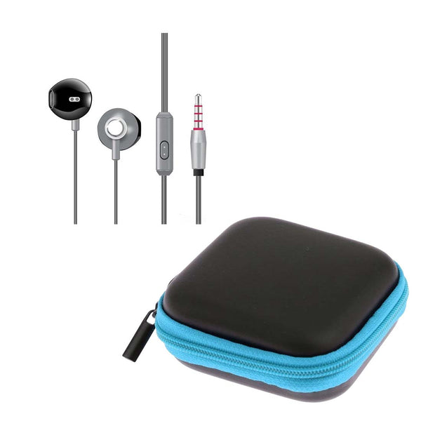 Silver High Analysis HD Sound Earphones with Mic + Blue Pouch