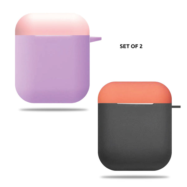 Silicone Airpods Case - Grey Orange & Purple Pink
