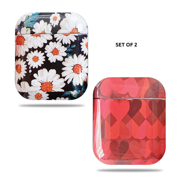Hard Glossy Airpods Case - Daisy & Red Hearts