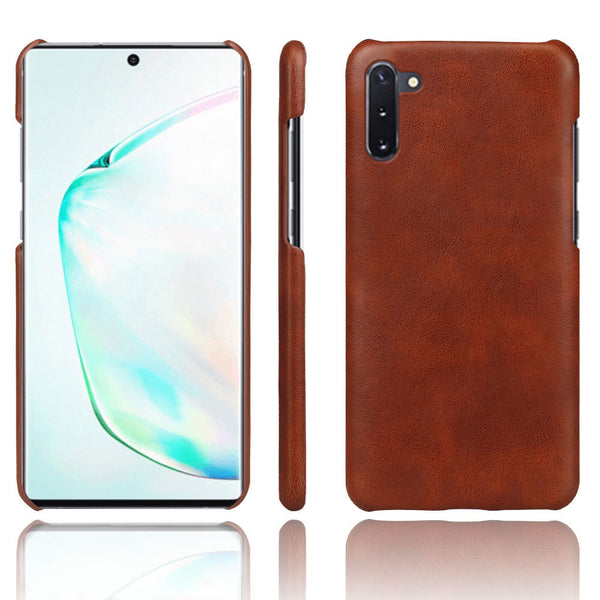 PU Leather Back Cover for Samsung Galaxy Note 10 (Brown)