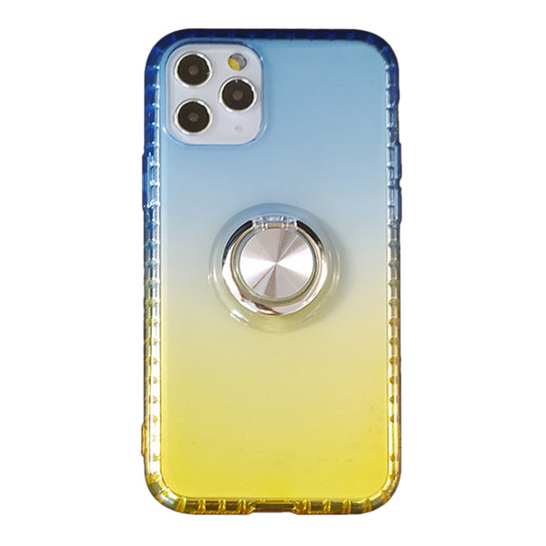 Gradient TPU Case with Ring Holder for iPhone 11 Pro - Blue & Yellow