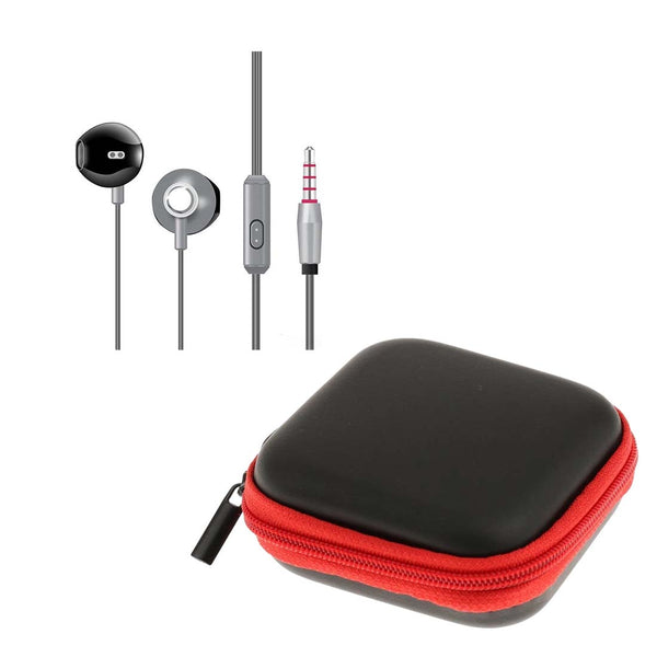 Silver High Analysis HD Sound Earphones with Mic + Red Pouch