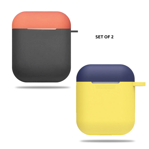 Silicone Airpods Case - Yellow Blue & Grey Orange