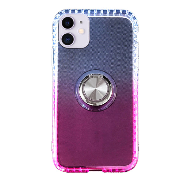 Gradient TPU Case with Ring Holder for iPhone 11 - Pink